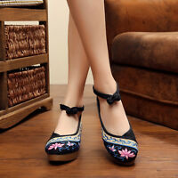 Women Chinese Embroidered Floral Pointed Toe Wedges Platform Ballerinas Shoes