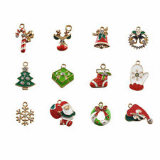 12 pcs Multi Styles Enamel Plated Christmas Charms Pendants DIY Jewellery Making