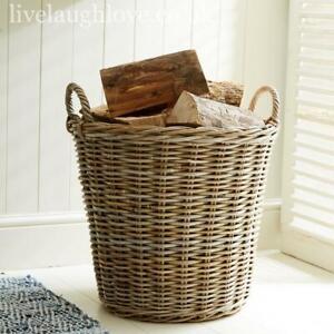 Large Grey and Buff Round Wicker Storage Basket Log Laundry Storage with Handles