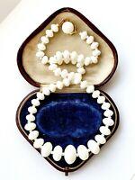 Vintage Art Deco Single White Glass Beaded Necklace