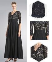 Black Evening Dress,Plus Size Maxi Dress,Maternity Wedding party Lace Satin 009