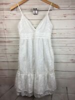 American Eagle Outfitters Size 2 Dress White Floral Ruffle Sleveless Summer