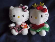 "Hello Kitty TY -Sanrio-Christmas-Pink Scotch Plaid-6"" Beanie Baby Plushes Lot 2"