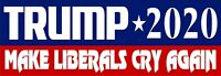 """Donald Trump Bumper Sticker 2020 Make Liberals Cry Again Bumper Decal 8.8"""" x 3"""""""