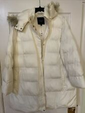 NWT Talbots Plus Size 2X White Down Filled Winter Coat With Full Zipper & Snap