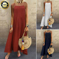 New Women Boho Cotton Linen Solid Lace Pleated Sleeveless Straps Maxi Long Dress