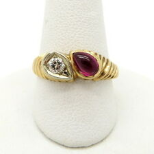 Vintage Estate 14K Yellow Gold Round Diamond and Cabochon Ruby Ring