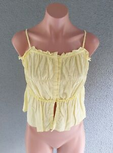 💜 Girl's WITCHERY Summer Cotton Strappy Top Yellow Size 12Y Buy7=FreePost L897