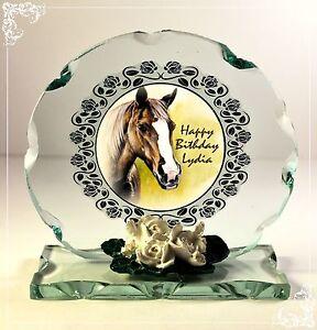 Horse Birthday Photo Cut Glass Round Cellini Plaque Occasion Unique Edition