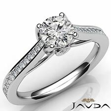 Channel Set Round Diamond Women's Engagement Ring GIA F VS1 14k White Gold 1ct