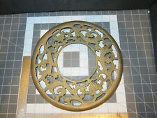 "New listing Antique Lamp Part / Trivet Floral Brass Ring Collar 11"" Dia Od 4-1/2"" Center Dia"