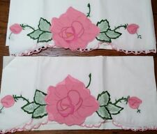 Vintage Pillowcases Applique Roses & Buds