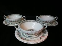 Myott Staffordshire Indian Tree 3 Cream Soup Bowls & 4 Saucers Scalloped Rim