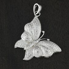 Womens Solid 925 Sterling Silver CZ Micro Pave Butterfly Pendant 30mm Length