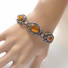 Vintage Artisan Genuine Baltic Honey Amber 925 Silver Link Bracelet