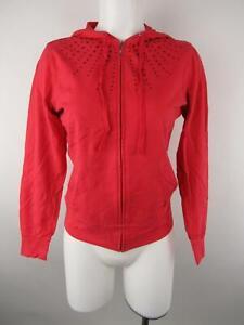 New York & Co Women S Coral Cotton Spandex Full Zip Rhinestone Hoodie Sweatshirt
