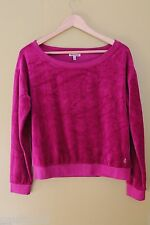 NWT Juicy Couture Sexy Magenta Pink Velour Boatneck Pull Over Sweater Top M $98