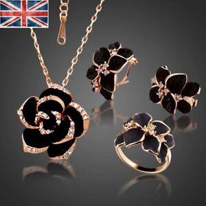 Christmas gift Fashion Enamel Rose Jewellery Set Rose Gold Silver