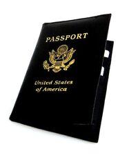 Black USA Passport Leather Cover Travel Document Holder Organizer Wallet New