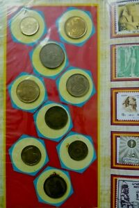 EGYPY COINS & STAMPS IN COLORFULL PORTFOLIO