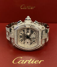 Iced 10ct Genuine Diamonds 2618 Cartier Roadster Chronograph Men's Watch 40mm