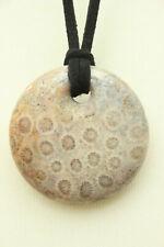 "Beige Chrysanthemum Flower Fossil CORAL Round PENDANT Necklace 1.45"" Wide"
