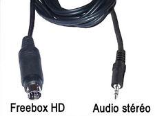 Cable audio stéréo mini-din 9 broches Freebox HD vers jack 3.5mm male L=1.5 m