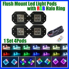 "4x 5"" Flush Mount Offroad LED Work Light Pods with Chasing RGB Halo & Wiring Kit"