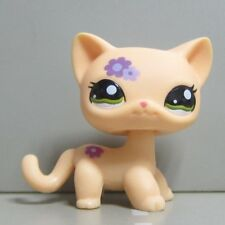 Hasbro Littlest Pet Shop Collection LPS Toys Shorthair Kitty Cat Purple Flower a