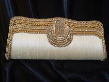 Ivory Gold Handbag Clutch Wallet Bollywood Indian Diwali Dress Purse Art Silk