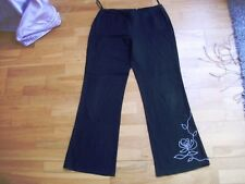 WALLIS ladies black wide leg linen blend trousers size 12 flower detail a