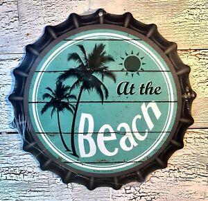 """""""AT THE BEACH""""  12""""  METAL BOTTLE CAP SIGN-Baked Ink -Outdoor/Indoor   U39"""