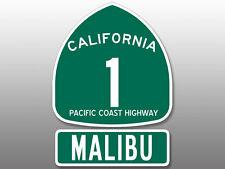 2 Pcs: 4x5.5 inch PCH Highway 1 Sign and MALIBU Stickers -beach california route