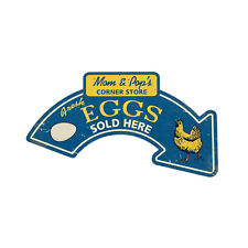 Fresh Country Chicken Eggs Sold Here Arrow to Store Tin Metal Steel Sign 21x10