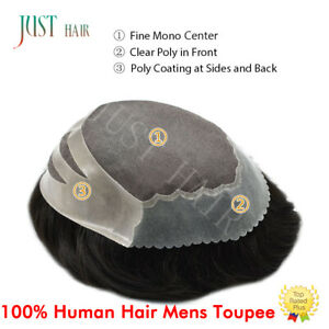Invisable Thin Skin Front Mens Toupee Mono Hairpiece Hair Replacement System #1B