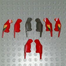 LEGO Animal Parrot Bird lot x8 Pirate Minifig Multi color Red green Dark Grey
