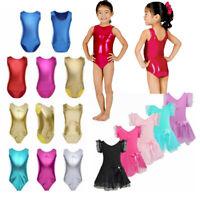 Girls Dress Dance Ballet Gymnastics Leotard Kids Shiny Bodysuit Dancewear Outfit