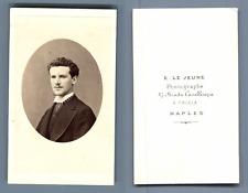 E. Le Jeune à Chiaja, Naples. Portrait d'un jeune homme  CDV vintage albume