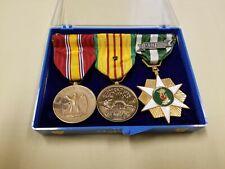Vietnam War Mounted Medal Bar 3x Place Full Size Bar Vietnam Service Medals Rare