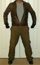 Men's J Crew Leather Biker Jacket and Brown Suede Pants Suit