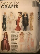 "McCall's Crafts Sewing Pattern 7400 11.5"" Doll Barbie Ken Bridal Evening Gowns"