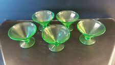 Antique Depression Vaseline Glass Footed Sherbet Glasses x 5  AS IS (2)Free