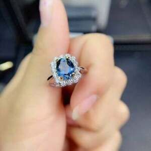 3Ct Oval Cut Blue Topaz Halo Women's Wedding Engagement Ring 14k White Gold Over