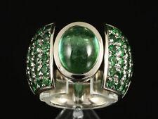 Schwerer Ring mit Turmalin & Tsavorith ca. 9,80ct   !!! 37,9g 750/- Weißgold !!!