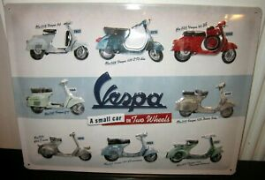 VESPA, THROUGH THE YEARS, EMBOSSED XL METAL SIGN 40x30cm  16x12 inch  SCOOTERS