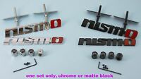 Nismo Front Grille Badge, Rear Boot Badge and Tyre Valve Caps - Black or Chrome