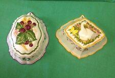 SET OF 2  Franklin Mint Le Cordon Bleu Ceramic Molds 1986   RASBERRIES  &  GOOSE