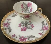 Shafford Japan Sandwich~Snack Plate~Wide Cup~Heavy Gold Rim~Pink Floral Design