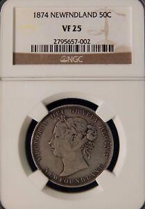 Original NGC VF25 1874 Newfoundland 50c