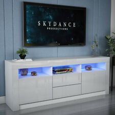 Large 1.6m TV Unit Stand Cabinet or Sideboard High Gloss Front LED Lights NEW